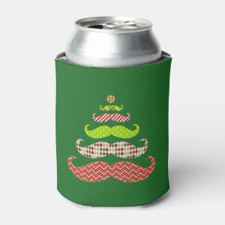 Mustache Christmas tree holiday Koozie Can Cooler