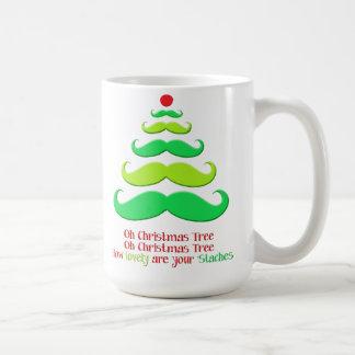 Mustache Christmas Tree Holiday Mug