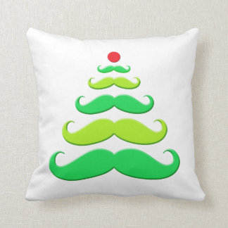 Mustache Christmas Tree Holiday Pillow