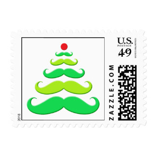 Mustache Christmas Tree Holiday Stamp