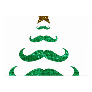 mustache christmas tree large business card
