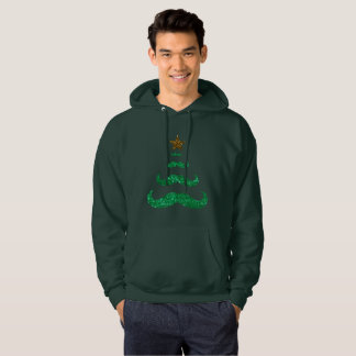 mustache christmas tree mens hooded sweatshirt