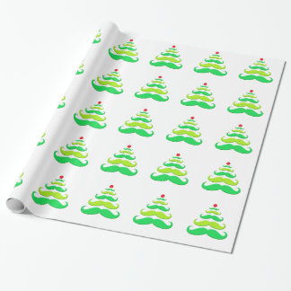 Mustache Christmas Tree Wrapping Paper