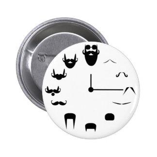 Mustache Clockface 2 Inch Round Button