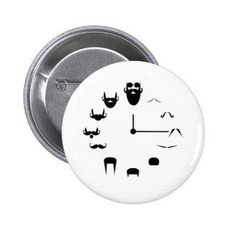 Mustache Clockface Button