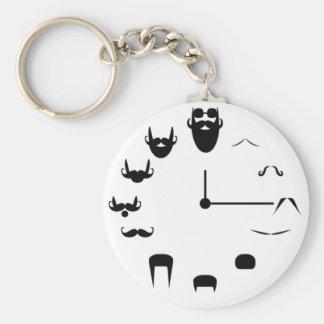 Mustache Clockface Keychain