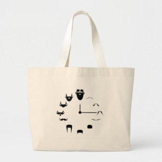 Mustache Clockface Large Tote Bag