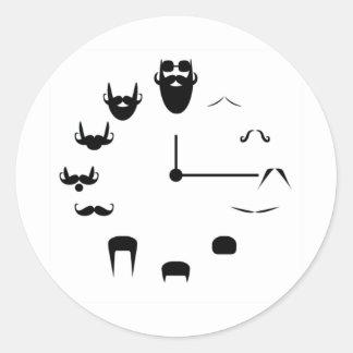 Mustache Clockface Classic Round Sticker