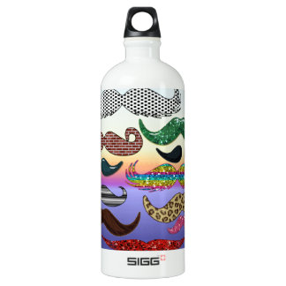 Mustache Collage  Add Name Add Color Text Aluminum Water Bottle