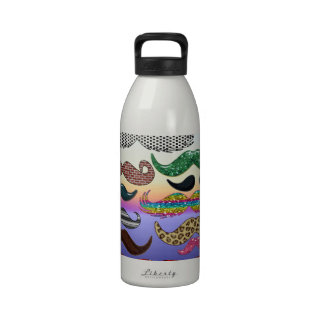 Mustache Collage Add Name Add Color Text Water Bottles