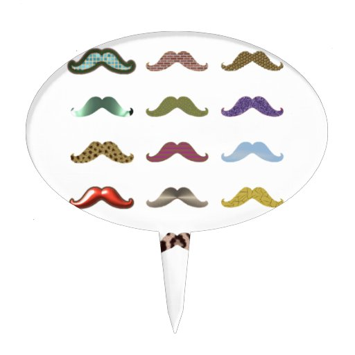 Mustache Collage  Add Text Customize Cake Picks