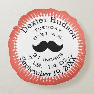 Mustache Coral Orange Personalize Birth Records Round Pillow