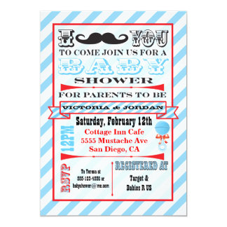 Mustache Couples Baby Shower Invitations