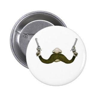 Mustache Cowboy 2 Inch Round Button