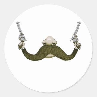 Mustache Cowboy Classic Round Sticker