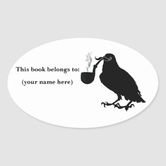 Mustache crow bookplate, round oval sticker