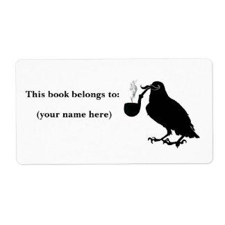 Mustache crow bookplate, square shipping label
