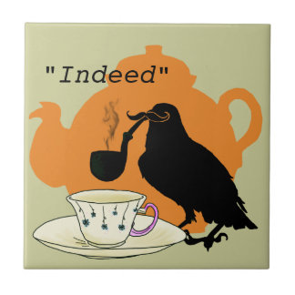 Mustache crow ceramic tile