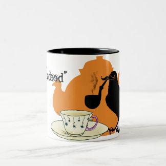 Mustache crow Two-Tone coffee mug