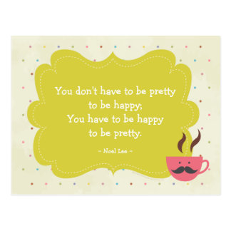 Mustache Cup Mini Quote Poster - Grey Postcard