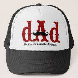 Trucker Hat with Dad: The Man, The Mustache, The Legend design