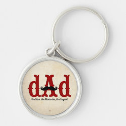Premium Round Keychain with Dad: The Man, The Mustache, The Legend design