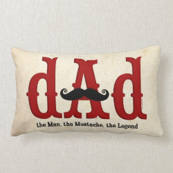 Throw Pillow Lumbar 13' x 21' with Dad: The Man, The Mustache, The Legend design
