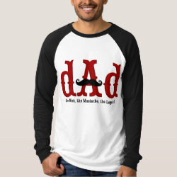 Men's Canvas Long Sleeve Raglan T-Shirt with Dad: The Man, The Mustache, The Legend design