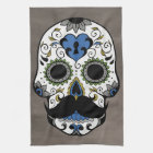 Mustache Day of the Dead Sugar Skull Hand Towel
