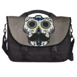 Mustache Day of the Dead Sugar Skull Laptop Bag