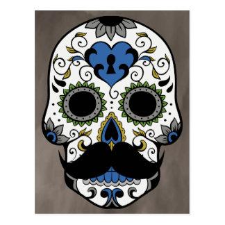Mustache Day of the Dead Sugar Skull Postcard