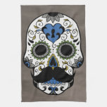 Mustache Day of the Dead Sugar Skull Towels