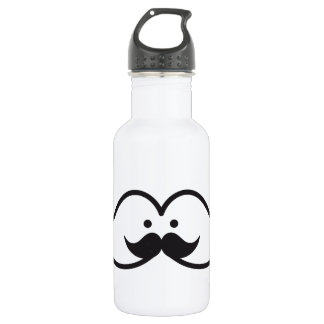 mustache design with mustache face stainless steel water bottle