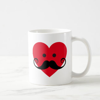 mustache design with red heart face coffee mug
