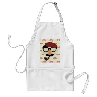 Mustache Disguise Glasses Pipe Beret Face Adult Apron