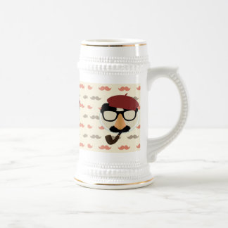 Mustache Disguise Glasses Pipe Beret Face Beer Stein