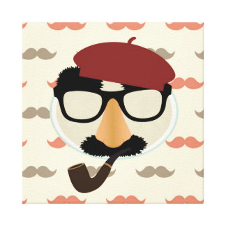 Mustache Disguise Glasses Pipe Beret Face Canvas Print