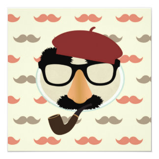 Mustache Disguise Glasses Pipe Beret Face Card