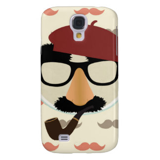Mustache Disguise Glasses Pipe Beret Face Samsung Galaxy S4 Covers