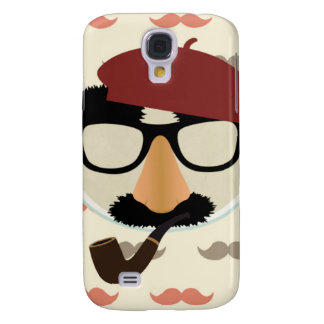Mustache Disguise Glasses Pipe Beret Face Galaxy S4 Cover
