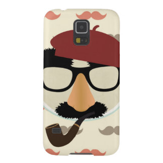 Mustache Disguise Glasses Pipe Beret Face Galaxy S5 Case