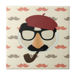 Mustache Disguise Glasses Pipe Beret Face Ceramic Tile