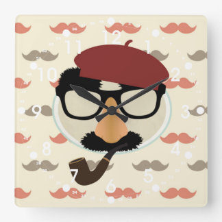 Mustache Disguise Glasses Pipe Beret Face Square Wall Clocks