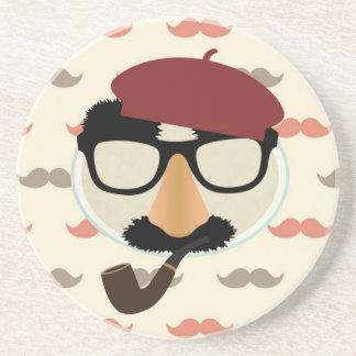 Mustache Disguise Glasses Pipe Beret Face Drink Coasters