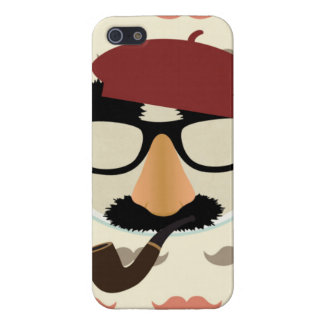 Mustache Disguise Glasses Pipe Beret Face Case For iPhone 5