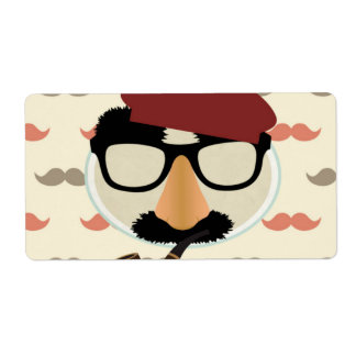 Mustache Disguise Glasses Pipe Beret Face Shipping Label