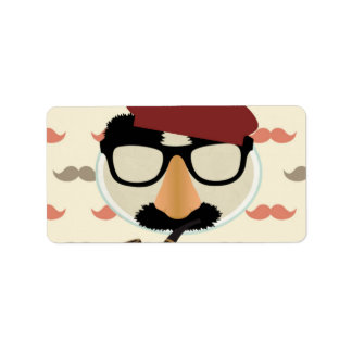 Mustache Disguise Glasses Pipe Beret Face Label