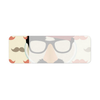 Mustache Disguise Glasses Pipe Beret Face Return Address Label