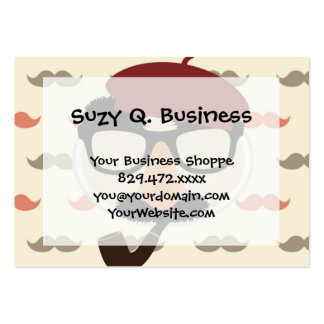 Mustache Disguise Glasses Pipe Beret Face Large Business Card