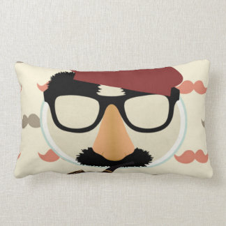 Mustache Disguise Glasses Pipe Beret Face Lumbar Pillow